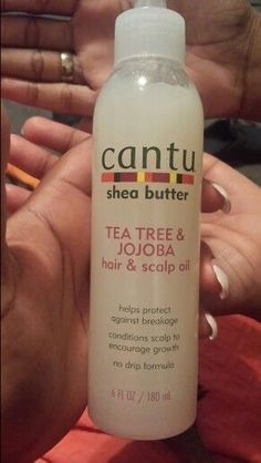 Cantu Tea Tree & Jojoba Hair & Scalp Oil – 6 oz Made with pure shea butter, tea tree and jojoba oil to replace vital oils revealing stronger, healthier hair with a natural shine while conditioning the scalp. For daily use on all hair types, wet or dry. Natural Hair Treatments, Natural Hair Tips, Natural Hair Styles, Natural Remedies, Natural Hair Short Cuts, Natural Hair Journey, Natural Skin, Baking Soda Shampoo, Pelo Afro
