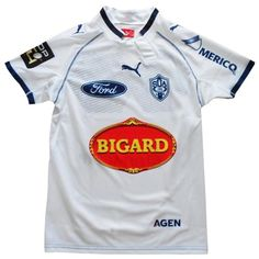 Nouveau maillot de rugby du S.U Agen pour la saison 2012-2013. Coloris blanc, marque Puma. 75 € sur www.rugbyland.fr