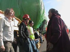 """lastrealindians:    """"Marie Randall, 92 years old, stood strong for Mother Earth and Tribal land rights. She makes us all so much stronger!!!"""" ~Debra White Plume  Monday, March 5, 2012- Oglala Nation members stop Keystone XL trucks from trespassing on Oglala land  Source: Andrew Ironshell"""