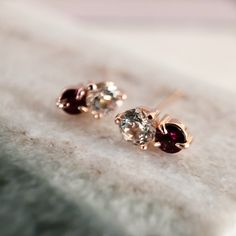 Duo Gemstone Earrings - 14k Rose Gold, Garnet, & Topaz