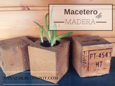 Macetero de tacos de madera. Planter wooden blocks .