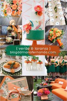 Decoração de Casamento : Paleta de Cores Laranja e Verde | http://blogdamariafernanda.com/decoracao-de-casamento-paleta-de-cores-laranja-e-verde