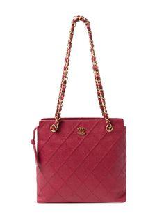 Purple Quilted Caviar Tote Small