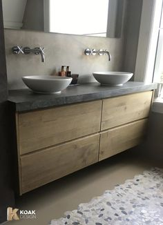 IKEA Godmorgon furniture with solid oak fronts and a concrete worktop .,IKEA Godmorgon furniture with solid oak fronts and a concrete worktop . Small Bathroom Storage, Ikea Bathroom, Family Bathroom, Bathroom Interior, Bathroom Ideas, Bathroom Makeovers, Bathroom Remodeling, Bathroom Canvas, Remodel Bathroom