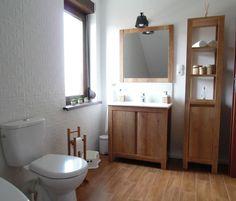 Wnętrza, Łazienka - łazienka, biel, drewno