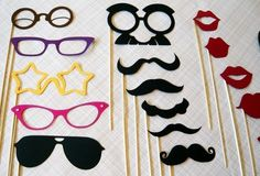 Mustache on a Stick. Photo Booth Props. Photobooth Photo Props- Seventeen Photobooth Party Props. $52.00, via Etsy shop LittleRetreats.    Possible DIY w/ thrift store glasses and costume mustaches