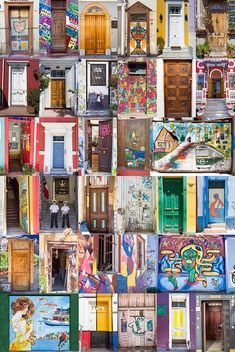 Doors of Valparaiso px) Casablanca, Visit Chile, Caribbean Culture, World Crafts, Ushuaia, South America Travel, Covered Bridges, World Heritage Sites, Art Lessons