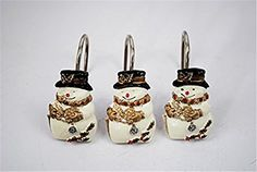 Twofishes Merry Christmas Snowman Waterproof Bathroom Resin Shower Curtains hooks Set of 12 >>> Click image to review more details.  This link participates in Amazon Service LLC Associates Program, a program designed to let participant earn advertising fees by advertising and linking to Amazon.com.