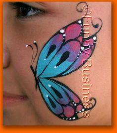 cheek art: one side butterfly