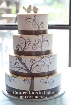 Painted whimsical tree design done to match the wedding invitations love this wedding cake Tree Designs, Wedding Cakes, Wedding Invitations, Decorative Boxes, Cookies, Girls Dream, Cake Ideas, Cake Toppers, Desserts