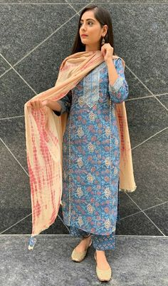 Dress Indian Style, Indian Dresses, Indian Outfits, Ladies Suits Indian, Suits For Women, Clothes For Women, Lengha Dress, Phulkari Suit, Kalamkari Dresses