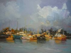 "Saatchi Art Artist Andres Vivo; Painting, ""Anchorage at dawn ref. 4024"" #art"