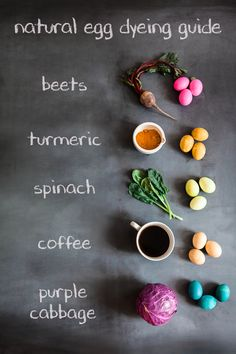 Naturally dyed Easter eggs with common kitchen ingredients