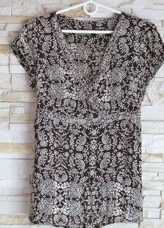 Kup mój przedmiot na #vintedpl http://www.vinted.pl/damska-odziez/bluzki-z-krotkimi-rekawami/12703128-elegancka-brazowo-biala-bluzka-motyw-kwiaty-idealna