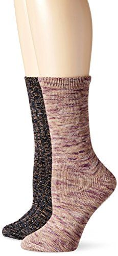 K Bell Womens Ombre Striped and Ribbed Boyfriend and Combo Crew Sock Ombre Multi 911 Pack of 2 * To view further for this item, visit the image link.
