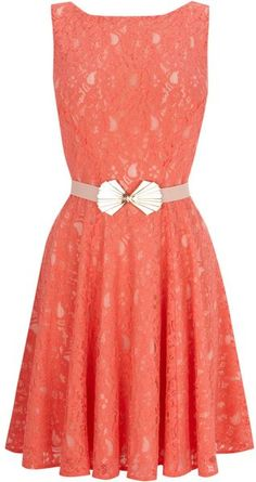 Oasis Deco Belted Lace Fit and Flare Dress in Red (coral)
