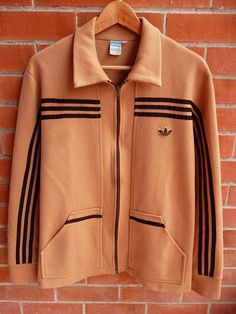 Vintage 1960s 70s ADIDAS Trefoil West Germany Brown Opti Zip Trainer Athletic Track Bomber Jacket