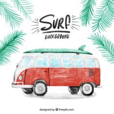 Fondo de caravana de acuarela con una tabla de surf | Descargar Vectores gratis