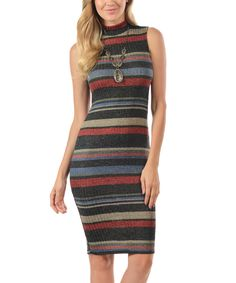 Look what I found on #zulily! Charcoal & Blue Stripe Mock Neck Bodycon Dress by Magic Fit #zulilyfinds