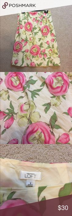 Ann Taylor LOFT floral skirt. Cream skirt with pink and green floral print. Interior lining. Worn 3-4 times. No rips, holes, or stains. LOFT Skirts