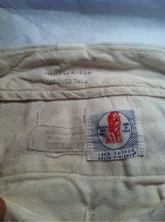 """Two worthwhile labels — """"Stevens Twist Twill"""" (detail to follow) and """"this garment made of sanforized vat dyed twill,"""" printed on the waistband."""