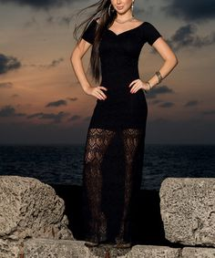 Another great find on #zulily! Black Lace Off-Shoulder Maxi Dress #zulilyfinds