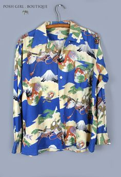 1940's Japanese Mens Button up Long Sleeve Shirt MENS VINTAGE CLOTHING :