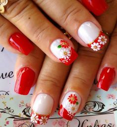 Cute Nail Art, Cute Nails, Flower Nail Art, Summer Nails, Eye Makeup, Nail Designs, Hair Beauty, Red, How To Make