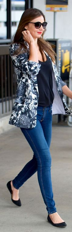 Miranda Kerr. Jacket and Sunglasses: Stella McCartney, Shoes: Givenchy, Jeans: Nobody