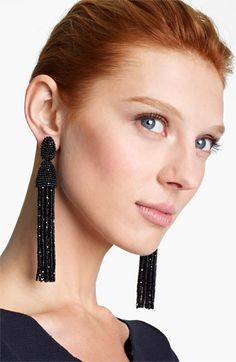 Oscar de la Renta Long Tassel Clip Earrings available at #Nordstrom