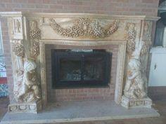 MONUMENTAL CHERUB HAND CARVED MARBLE ESTATE FIREPLACE MANTEL - JD657 Marble Fireplace Mantel, Marble Fireplaces, Fireplace Mantels, Travertine, Cherub, Hand Carved, Carving, Ebay, Home Decor