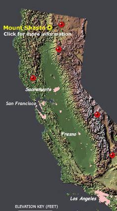 map of California volcanoes