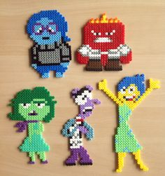 Inside Out characters hama beads by Majken Skjølstrup Perler Bead Designs, Hama Beads Design, Diy Perler Beads, Perler Bead Art, Pearler Beads, Melty Bead Patterns, Pearler Bead Patterns, Perler Patterns, Beading Patterns