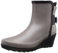 Chooka Womens Colorblocked Wrap Wedge Rain Boot Taupe 6 M US >>> Check out this great product.