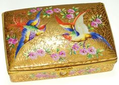 Limoges Porcelain; Dresser Box, Exotic Birds & Floral, Hinged Lid, 5 inch
