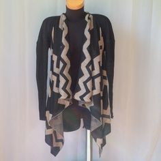 Open front Cardigan Black and beige color. Bajee Collection by Becool Becool Sweaters Cardigans