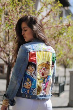 Trippy reworked Levi/'s denim jacket vintage and Upcycled with psychedelic artwork high quality custom made unique one of a kind cropped