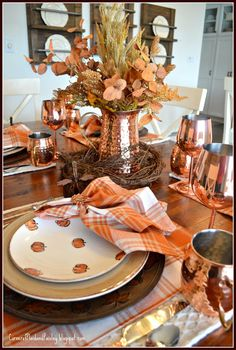 Fall Copper Tablescape from Corner of Plaid and Paisley Thanksgiving Tablescapes, Holiday Tables, Thanksgiving 2020, Thanksgiving Decorations, Fall Home Decor, Autumn Home, Holiday Decor, Fall Table Settings, Place Settings
