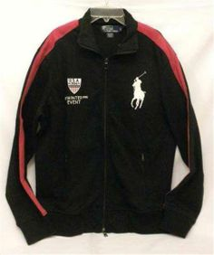 NWT Men's Medium Ralph Lauren Supima Cotton Big Pony Black Red Winter USA Track Warm Up Jacket