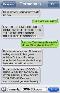 Hetalia+Funny+Text+Messages | Germany :)Heeeeeyyyy Germannny wats up bro | Italy, are you okay? | I ...