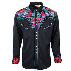 Men's Scully Gunfighter Shirt with Multi-Color Embroidery at Maverick Western Wear