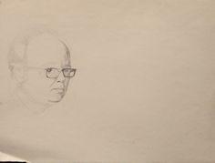 William Utermohlen, Self Portrait with Glasses,1969 pencil on paper, 270x370mm