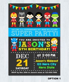* For more cute superheroes invites: http://etsy.me/2lUOM38 Superhero Chalkboard Digital Invite * This is Printable file (JPEG & PDF) and no physical items will be mailed to you. --------------★★★ PURCHASING INSTRUCTIONS ★★★-------------- * Select 1 Quantity and Add your item to cart for