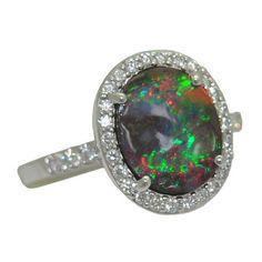 Opal Ring with 0.35 Cttw. Diamonds https://www.goldinart.com/shop/rings/colored-gemstone-rings/opal-ring-0-35-cttw-diamonds #14KaratWhiteGold, #OpalRing