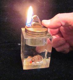 Vintage Clearfloat Lucite Lighter Table Lighter Brass Lighter Lucite Lighter 1950's Lighter Working Lighter Sea Life Lighter