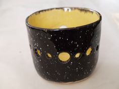 Windlicht-Keramik+Schwartz-Gelb+von+keramik+milada+auf+DaWanda.com