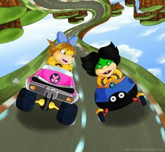 My boyfriend and me in Mario Kart 8 in Ludiwg and Wendy, our characters favorite !
