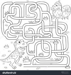 Help dinosaur find path to nest. Maze game for kids. Black and white vector illustration for coloring bookLabyrinth Mazes For Kids Printable, Dinosaur Printables, English Worksheets For Kids, 1st Grade Worksheets, Barbie Coloring Pages, Coloring Books, Dino Museum, Maze Games For Kids, Cardboard Crafts Kids