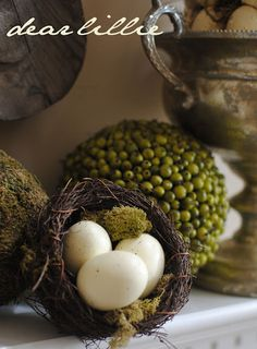 Great Easter vignettes and tutoriasl for making eggs, moss covered letters.