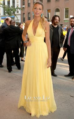 Blake Lively Yellow Halter Chiffon Dress Savages New York Premiere